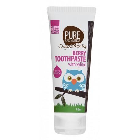Pure Beginnings Organic Baby, Pasta do Zębów z Ksylitolem o smaku Dojrzałych Malin, 75ml