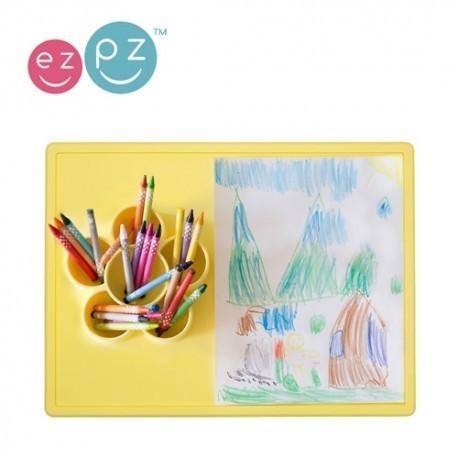 EZPZ, Silikonowa mata do zabawy z pojemniczkami 2w1 Flower Play Mat żółta