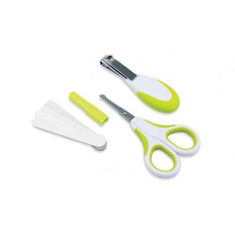 Nuvita, Zestaw kosmetyczny do paznokci: nożyczki, cążki i 5 pilniczków GREEN