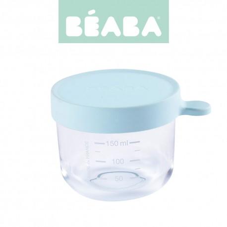 Beaba, Pojemnik słoiczek szklany z hermetycznym zamknięciem, 150 ml, Light Blue