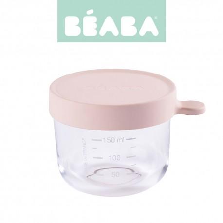 Beaba, Pojemnik słoiczek szklany z hermetycznym zamknięciem, 150 ml, pink