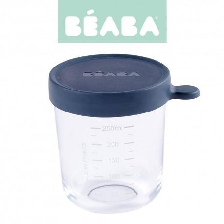Beaba, Pojemnik słoiczek szklany z hermetycznym zamknięciem 250 ml, Dark Blue