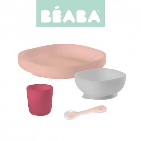 Beaba, Komplet naczyń z silikonu z przyssawką, pink