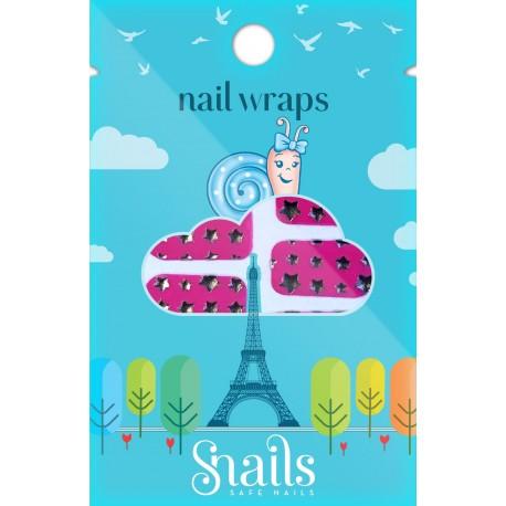 Snails, Naklejki na paznokcie, Nail Wrap  – Pink Stars, różowe gwiadzy