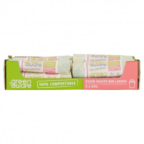 GreenAware, Kompostowalne worki na śmieci spożywcze 60L, 5 szt. x 30 KARTON