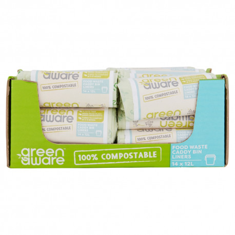 GreenAware, Kompostowalne worki na śmieci spożywcze 12L, 14 szt. x 36 KARTON