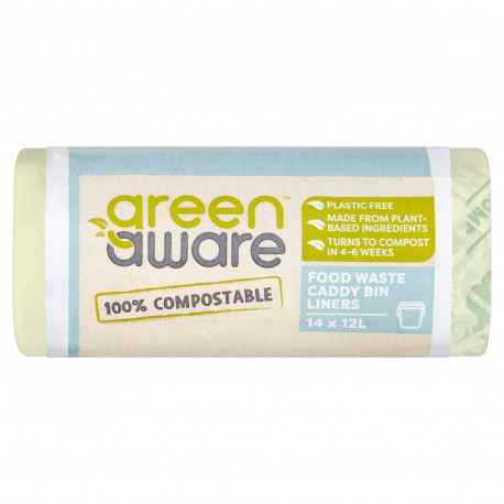 GreenAware, Kompostowalne worki na śmieci spożywcze 12L, 14 szt.