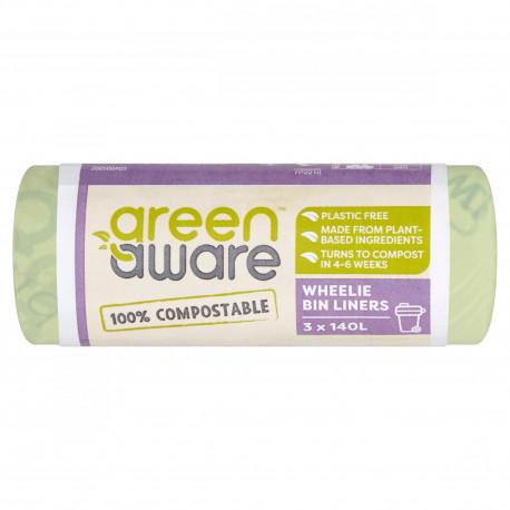 GreenAware, Kompostowalne worki na śmieci spożywcze, 140L, 3 szt.