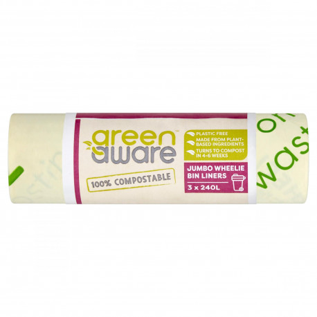 GreenAware, Kompostowalne worki na śmieci spożywcze, 240L, 3szt.