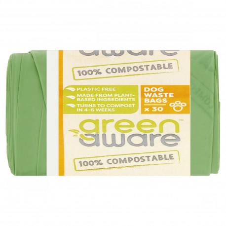 GreenAware, Kompostowalne worki na psie  śmieci i odpady, 30 szt.