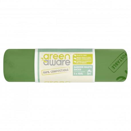 GreenAware, Kompostowalne worki na śmieci ogrodowe 150L, 3 szt.