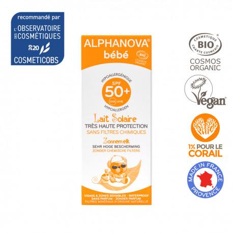 Alphanova Bebe, Naturalny Przeciwsłoneczny Krem o wysokim filtrze SPF 50+, 50 ml