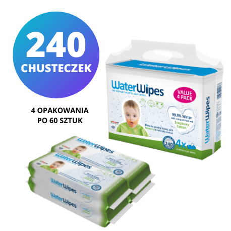 WaterWipes Soapberry Kids 4x60 szt., chusteczki nasączane wodą z dodatkiem orzechów mydlanych