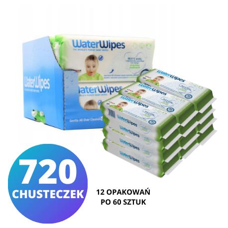 WaterWipes Soapberry Kids KARTON 12x60 szt.,  chusteczki nasączone wodą z dodatkiem orzechów mydlanych