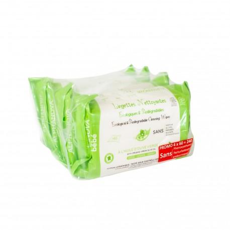 Alphanova Bebe, Ekologiczne chusteczki biodegradowalne z oliwą, 4x60 szt.