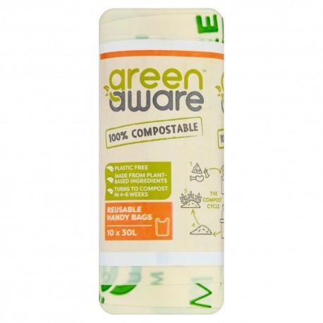GreenAware, Kompostowalne reklamówki wielokrotnego użytku, T-shirt, 30L, 10 szt.
