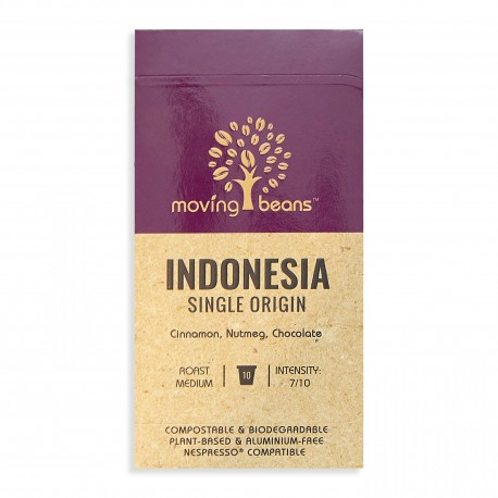 Kawa do Nespresso ®, kompostowalne kapsułki. Moving Beans, Indonesia Single Origin, 10 szt.