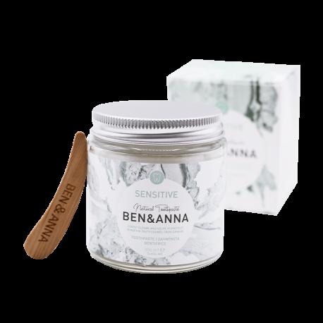 BEN and ANNA, Naturalna wybielająca pasta do wrażliwych zębów z szałwią i rokitnikiem, 100 ml