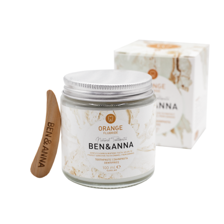 BEN and ANNA, Naturalna pasta do wrażliwych zębów z fluorem ORANGE, szklany słoik ZERO WASTE, 100 ml