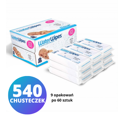 WaterWipes, 9x60szt.  Chusteczki nasączane czystą wodą