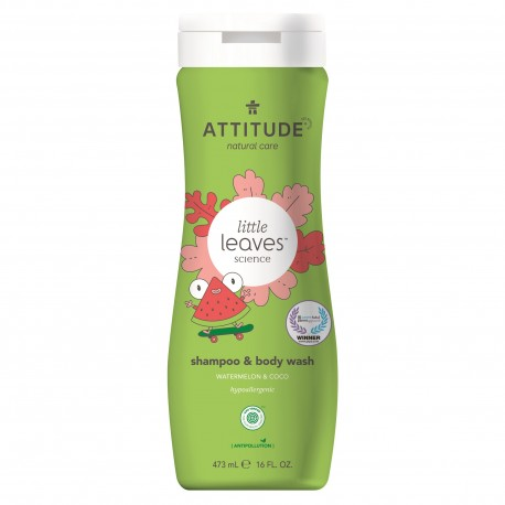 Attitude, Płyn do mycia i szampon 2w1, Arbuz i Kokos, Little Ones, 473 ml